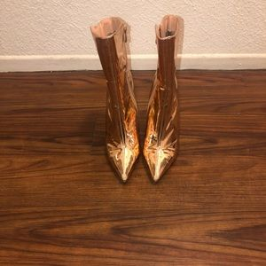 Rose gold ankle booties No box